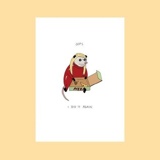 Fine Ass Lines Greeting Card - Oops Pizza