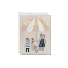 Red Cap Cards Birthday Card - Ice Cream Hippos