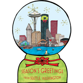 Allport Editions Holiday Card - Seattle Snowglobe