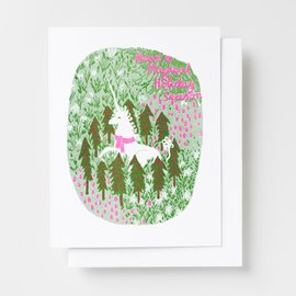 Yellow Owl Workshop Holiday Card - Magical Unicorn