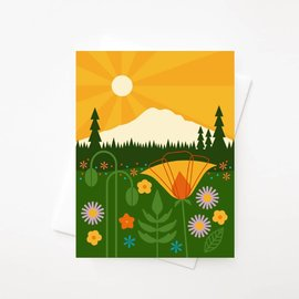 Amber Leaders Greeting Card - Mt. Rainier