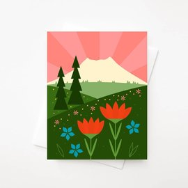 Amber Leaders Greeting Card - Mt. St. Helens