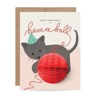 Inklings Paperie Birthday Card - Kitten Pop-up