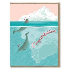 Modern Printed Matter Wedding Card - Narwhals