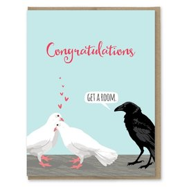 Modern Printed Matter Wedding Card - Get a Room Doves