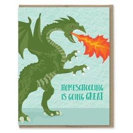 Modern Printed Matter Greeting Card - Homeschooling Dragon