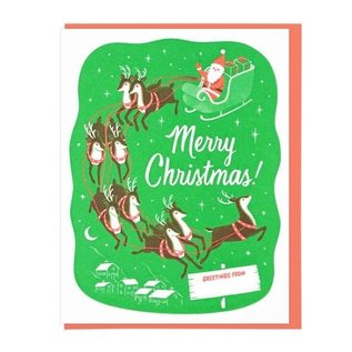 Lucky Horse Press Holiday Card - Santa and Reindeer Seattle