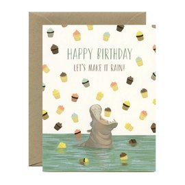 Yeppie Paper Birthday Card - Hippo Cupcakes