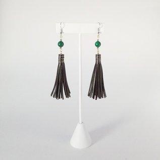Jasmine Gil Leather Earrings w/Bead