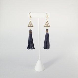 Jasmine Gil Leather Earrings w/Tiny Skulls