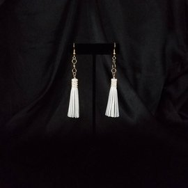 Jasmine Gil Short Leather Earrings w/Chain