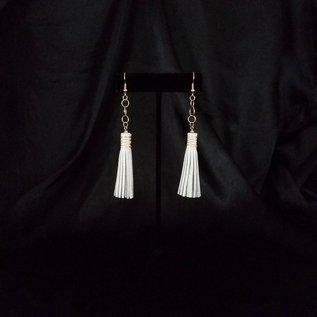 Jasmine Gil Short Leather Earrings w/Chain