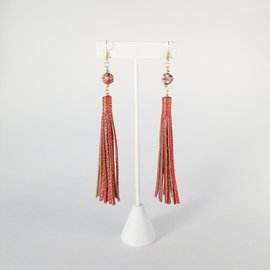 Jasmine Gil Long Painted Leather Earrings w/Bead