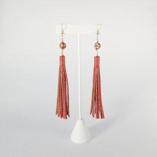 Jasmine Gil Long Painted Leather Earrings w/Bead