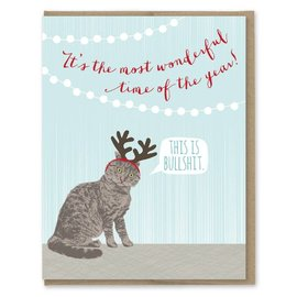 Modern Printed Matter Holiday Card - Cat Antlers