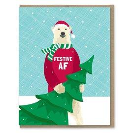 Modern Printed Matter Holiday Card - Festive AF (Polar Bear)