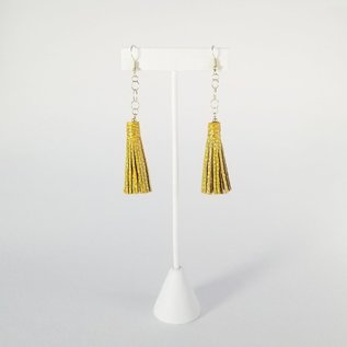 Jasmine Gil Short Painted Leather Earrings w/Chain