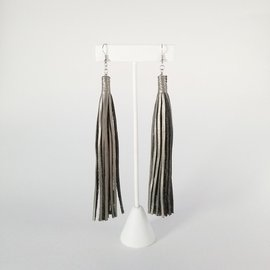 Jasmine Gil Extra Long Simple Leather Earrings