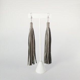 Jasmine Gil Extra Long Simple Leather Earrings