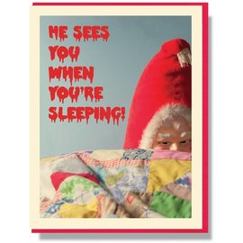 Smitten Kitten Holiday Card - He Sees You Sleeping