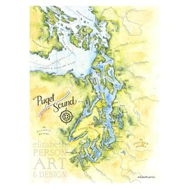 Elizabeth Person Puget Sound Map 8x10 Print