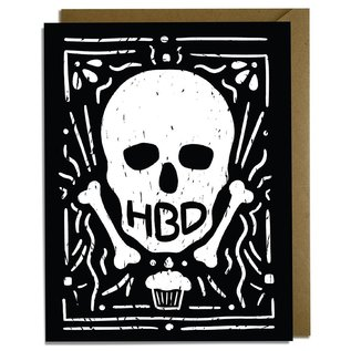 Kat French Design Birthday Card - HBD Skull