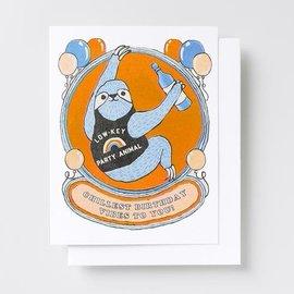 Yellow Owl Workshop Birthday Card - Sloth Party