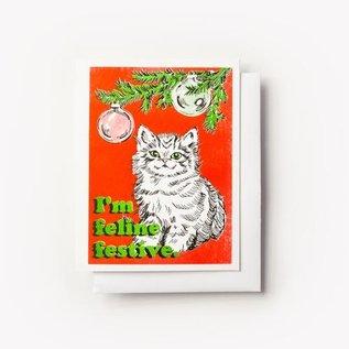 Yellow Owl Workshop Holiday Card - Feline Festive