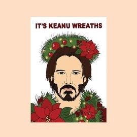 Fine Ass Lines Holiday Cards - Keanu Wreaths
