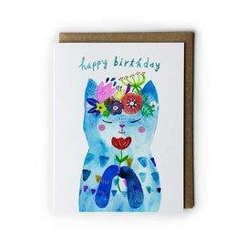 Yuko Miki Birthday Card - Blue Flower Kitty