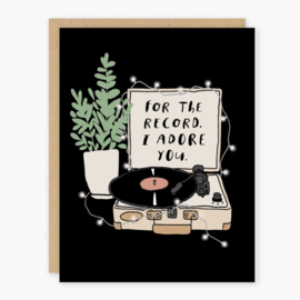 Party of One Love Card - For the Record I Adore You