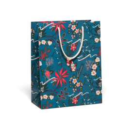 Red Cap Cards Blue Poinsetta Gift Bag