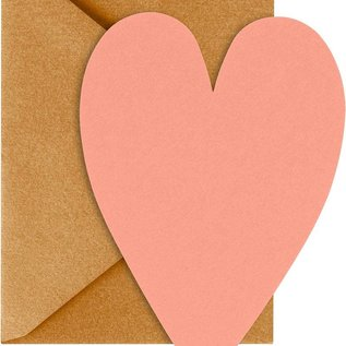 Waste Not Paper Coral Heart with Gold Envelope Valentine Card Set