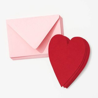 Waste Not Paper Red Heart with Blossom Envelope Valentine Card Set
