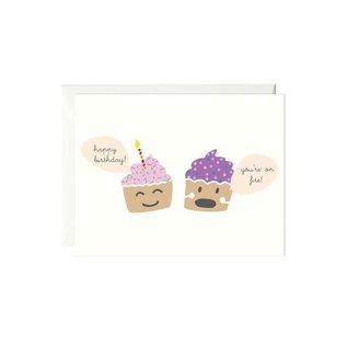 Paula & Waffle Birthday Card - You're On Fire Cupcakes