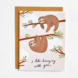 Waste Not Paper Valentine's Day Card - Sloths Hanging