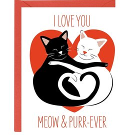 Waste Not Paper Valentine's Day Card - Meow & Purrever