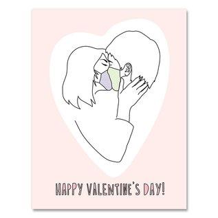 Near Modern Disaster Valentine's Day Card - Masked Kiss
