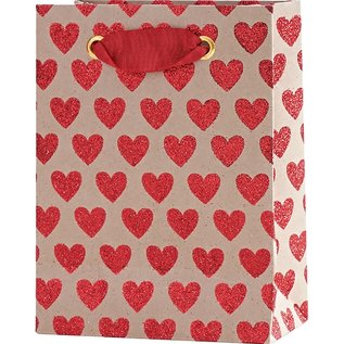 Waste Not Paper Red Glitter Hearts Gift Bag