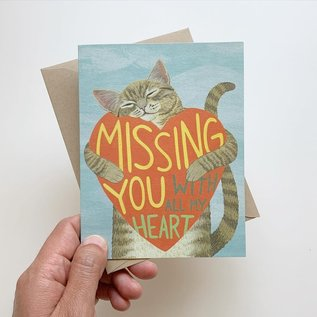 Yeppie Paper Valentine's Day Card - Miss You All of My Heart Cat