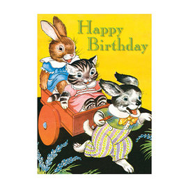 Laughing Elephant Birthday Card - Rabbit Cat & Dog