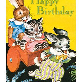 Laughing Elephant Birthday Card - Rabbit Cat & Dog