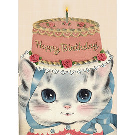 Laughing Elephant Birthday Card - Birthday Hat Kitty