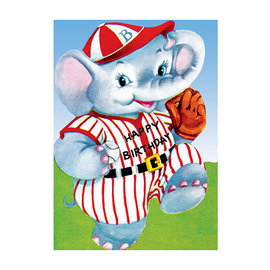 Laughing Elephant Birthday Card - Baseball Elephant