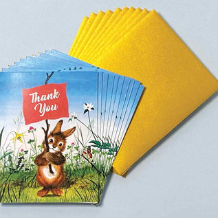 Laughing Elephant Rabbit with Sign Thank You Notes
