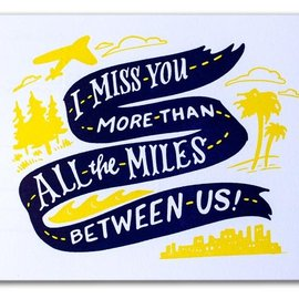 Ladyfingers Letterpress Miles Between Us Postcard