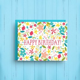 Nicole Marie Paperie Birthday Card - Blue Floral