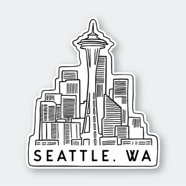 Pike St. Press Seattle Skyline Sticker