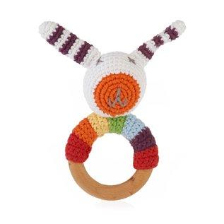 Pebble Rainbow Bunny Wooden Ring Rattle