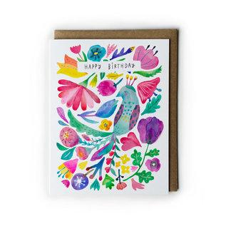 Yuko Miki Birthday Card - Peacock Flower